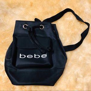 BEBE black & white logo drawstring backpack bag